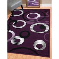 """Westfield Home Montclaire Contemporary Abstract Circles Lilac Area Rug - 7'10"""" x 10'6"""""""