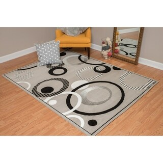 """Westfield Home Montclaire Contemporary Abstract Circles Silver Area Rug - 7'10"""" x 10'6"""""""