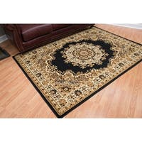 "Westfield Home Montclaire Black Traditional Oriental Area Rug - 7'10"" x 10'6"""