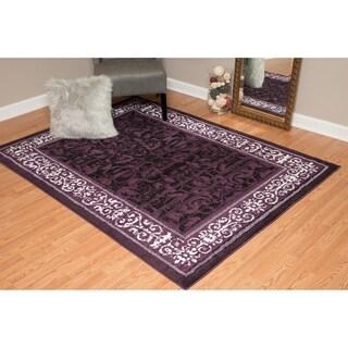 Westfield Home Montclaire Collection Genevieve Plum/Black/White Fabric/Jute Indoor Rectangular Area Rug (7'10 x 10'6)