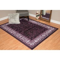 "Westfield Home Montclaire Collection Genevieve Plum/Black/White Fabric/Jute Indoor Rectangular Area Rug - 7'10"" x 10'6"""