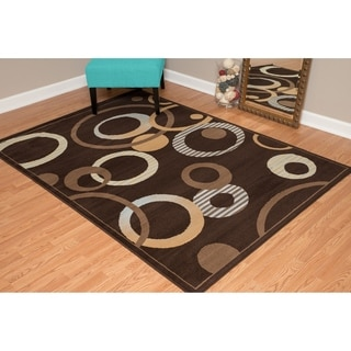 """Westfield Home Montclaire Contemporary Abstract Circles Chocolate Area Rug - 7'10"""" x 10'6"""""""
