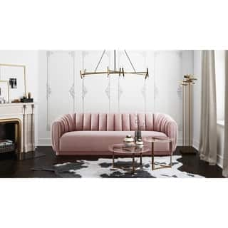 Arno Blush Velvet Cushion back Channel tufted Sofa With Pillow top Arms. Pink Living Room Furniture For Less   Overstock com