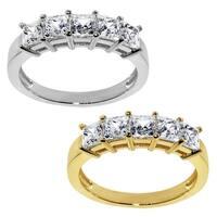 14k Yellow or White Gold 1 1/10ct TGW Princess-cut Cubic Zirconia 5-Stone Wedding Band - Clear