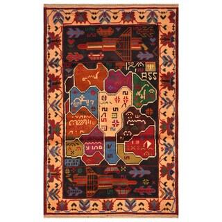 Handmade Herat Oriental Afghan Hand-knotted Wool War Rug (2'7 x 4'3) - 2'7 x 4'3