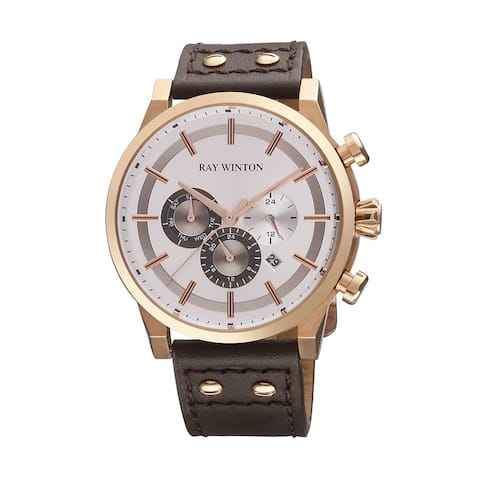 Ray Winton Men's Multi-Function Silver Dial Genuine Brown Leather Watch