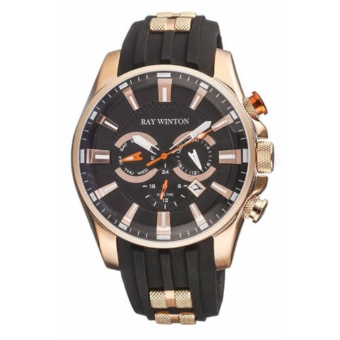 Ray Winton Men's Multi-Function GMT Black Dial Black Silicone Watch