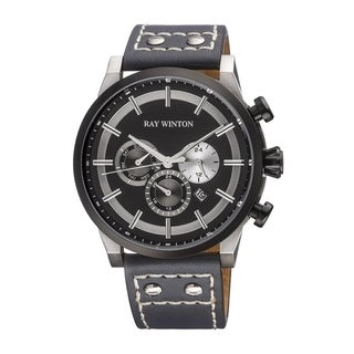 Ray Winton Men's Multi-Function Black Dial Genuine Grey Leather Watch