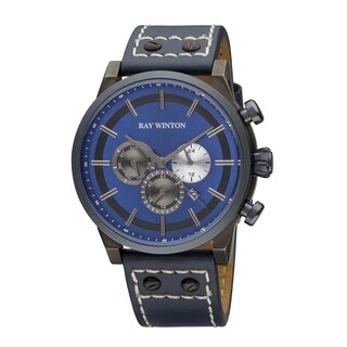 Ray Winton Men's WI0405 Multi-Function Blue Dial Genuine Cerulean Leather Watch