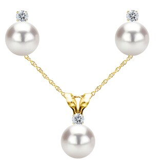 DaVonna 14k Yellow Gold White Akoya Cultured Pearl and .03 CTTW Diamond Stud Earrings Chain Pendant Necklace Jewelry Set 18