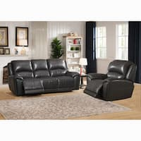 Ari Grey Top Grain Leather Power Reclining Sofa and Chair