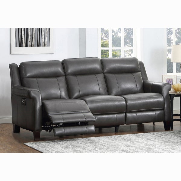 Alex Grey Top Grain Leather Power Reclining Sofa With Power Headrests