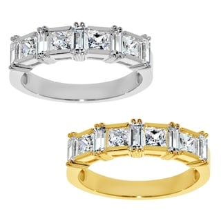 14k Yellow or White Gold 7/8ct TGW Princess-cut Cubic Zirconia Wedding Band - Clear