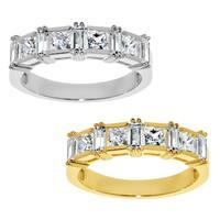 14k Yellow or White Gold 7/8ct TGW Princess-cut Cubic Zirconia Wedding Band - Clear
