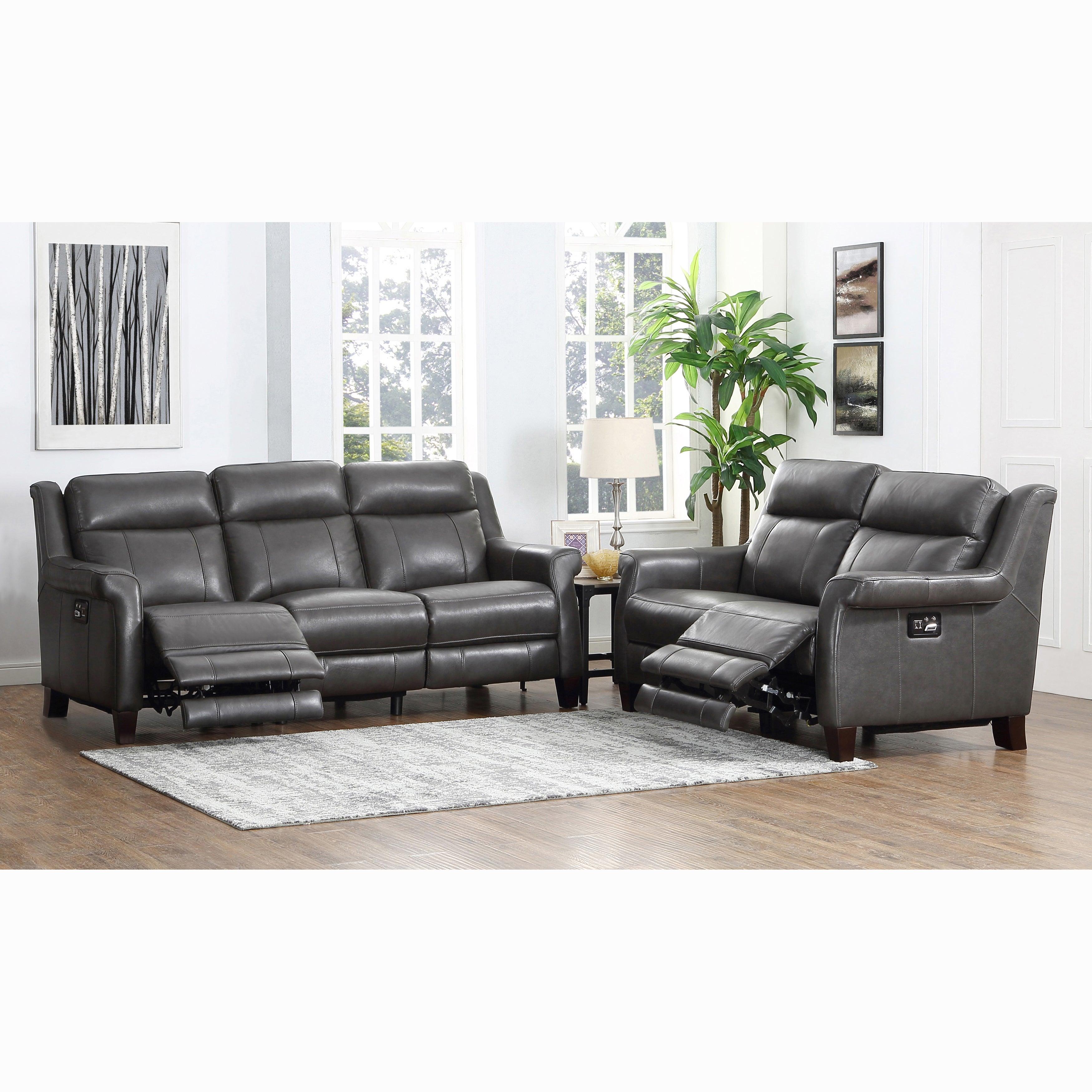 Alex Grey Premium Top Grain Leather Power Reclining Sofa and Loveseat - 86  x 39 x 40