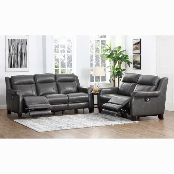 Alex Grey Premium Top Grain Leather Reclining Sofa And Loveseat