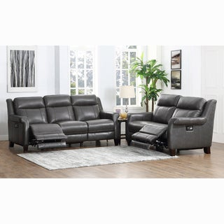 Alex Grey Premium Top Grain Leather Power Reclining Sofa And Loveseat
