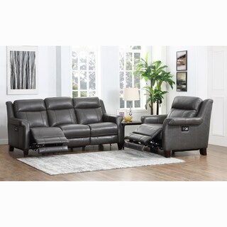 Alex Grey Premium Top Grain Leather Power Reclining Sofa and Chair