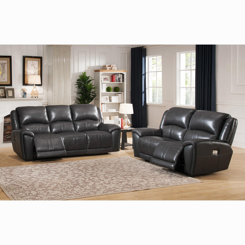 Ari Grey Top Grain Leather Power Reclining Sofa and Loveseat
