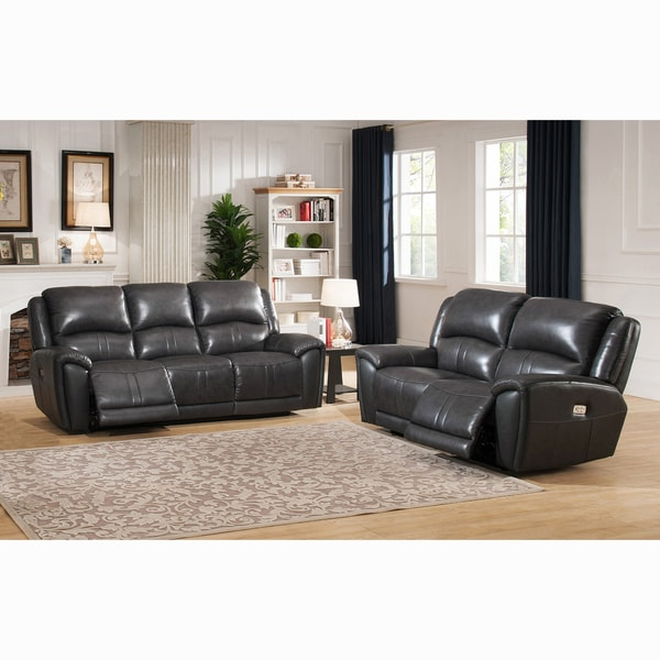 Ari Grey Top Grain Leather Power Reclining Sofa and Loveseat