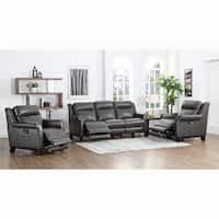 Alex Grey Top Grain Leather Power Reclining Sofa and Two Chairs
