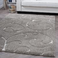 Alise Rugs Waverly Grey Shag Scroll Area Rug - 7'10 x 9'10