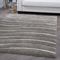 Alise Rugs Waverly Shag Gray Contemporary Stripe Area Rug - 7'10 x 9'12