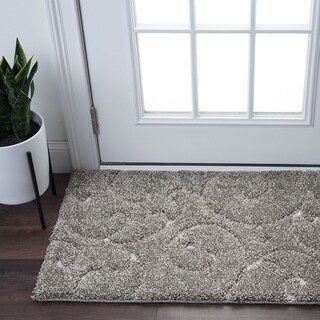 Alise Rugs Waverly Shag Gray Transitional Scroll Scatter Rug (2' x 3'3) - 2' x 3'