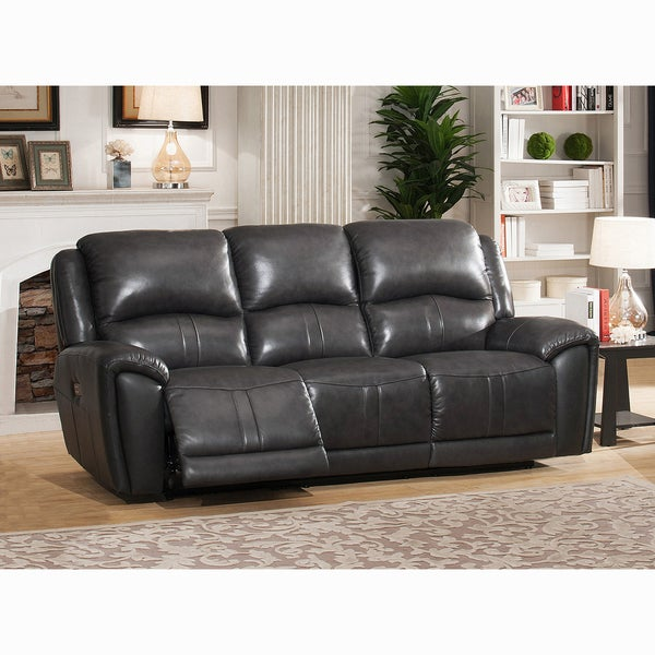 Ari Grey Top Grain Leather Power Reclining Sofa With Power Headrests
