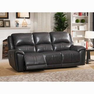 Ari Grey Top Grain Leather Power Reclining Sofa with Power Headrests