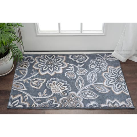 Alise Rugs Carrington Transitional Floral Scatter Mat Rug - 2' x 3'