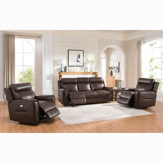 Taft Brown Top Grain Leather Power Reclining Sofa and Two Chairs
