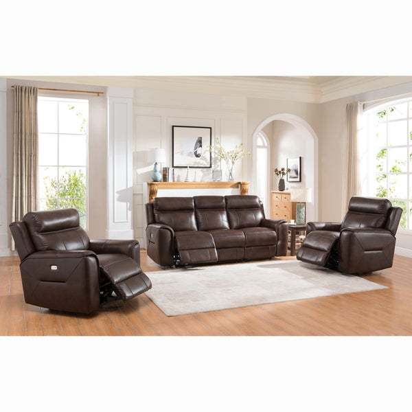 Taft Brown Top Grain Leather Reclining Sofa And Two Chairs