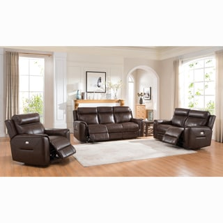 Taft Brown Top Grain Leather Power Reclining Sofa, Loveseat and Chair
