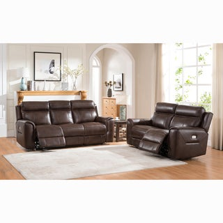 Taft Brown Top Grain Leather Power Reclining Sofa and Loveseat - 88 x 38 x 39.5