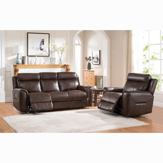 Taft Brown Top Grain Leather Power Reclining Sofa and Chair
