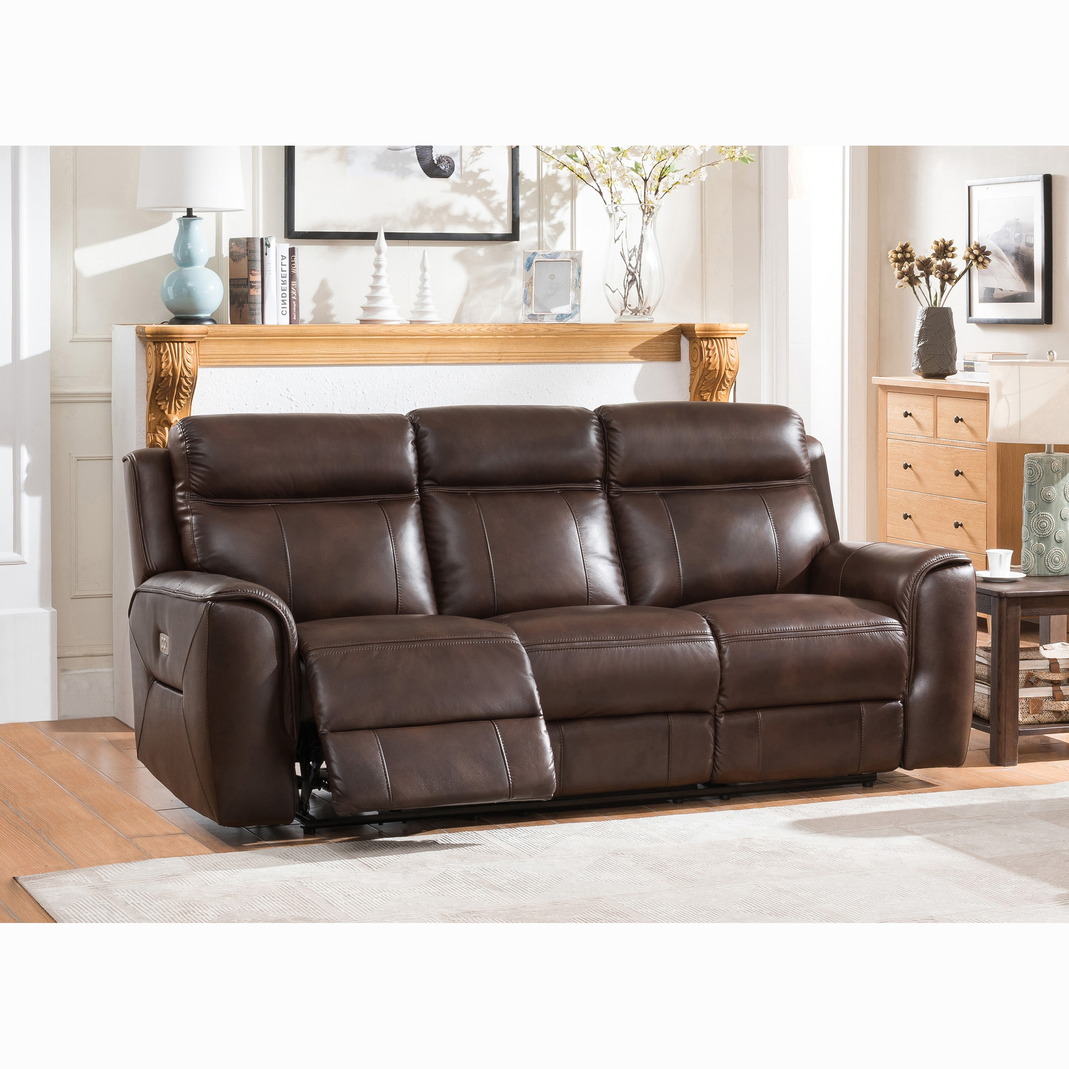 - Shop Taft Brown Top Grain Leather Power Reclining Sofa With Power