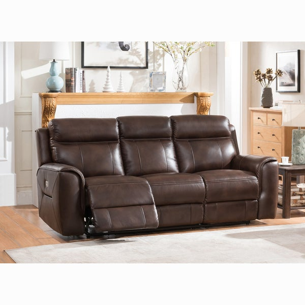 Shop Taft Brown Top Grain Leather Power Reclining Sofa