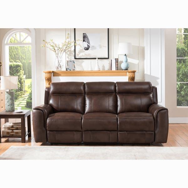 Amazing Taft Brown Top Grain Leather Power Reclining Sofa With Power Headrests Short Links Chair Design For Home Short Linksinfo