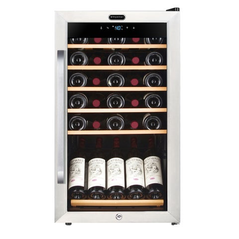 Whynter 34 Bottle Freestanding Stainless Steel Wine Refrigerator with Display Shelf and Digital Control
