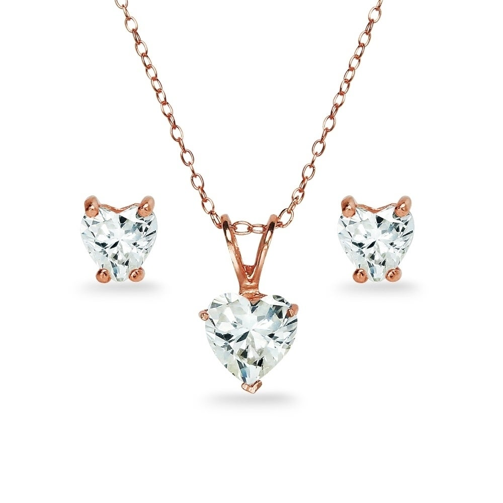 Icz Stonez Sterling Silver Heart Solitaire Necklace Earrings Set Created With Swarovski Zirconia