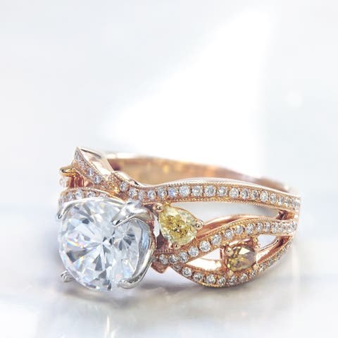 Lihara and Co. 18k Rose and White gold 1/2 ct TDW White and Fancy Colored Diamond Semi-Mount Engagement Ring - White G-H