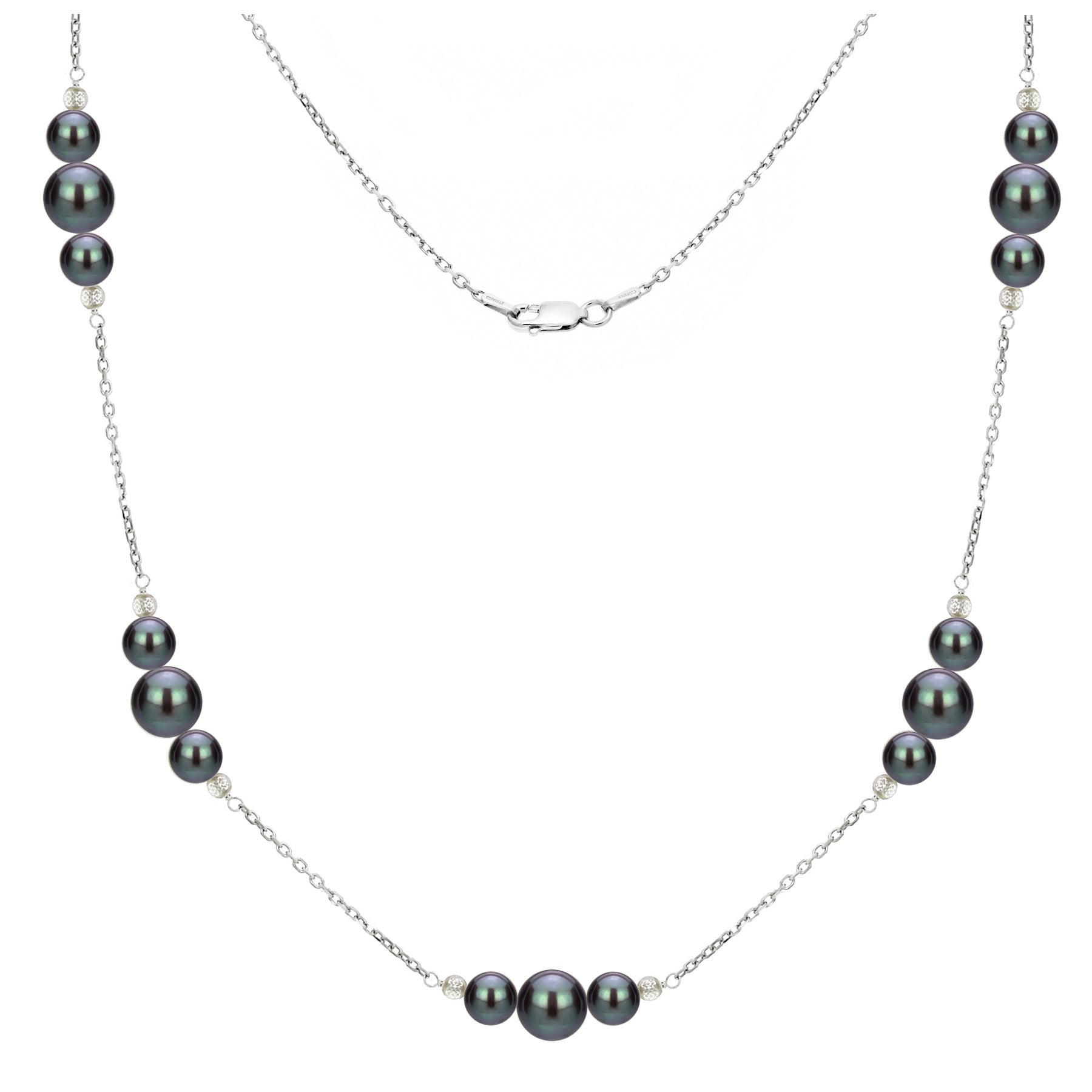 """18/"""" Baroque Tahitian Black Pearl Tin Cup Necklace in 925 Sterling Silver"""