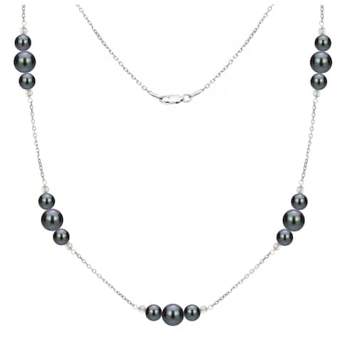 DaVonna Sterling Silver 6-10mm semi-round Black Freshwater Cultured Pearl stations chain Necklace, 18""