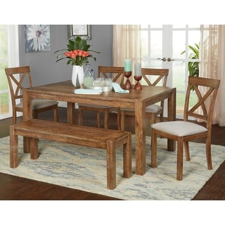 Simple Living 6-Piece Verdon Dining Set with Bench  sc 1 st  Overstock & Farmhouse Kitchen u0026 Dining Room Tables For Less | Overstock.com