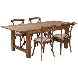 "7'x40"" Farmhouse Table/4 Chair Set"