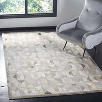 Safavieh Hand-Woven Studio Leather Grey/ Ivory Leather Rug - 3' x 5'