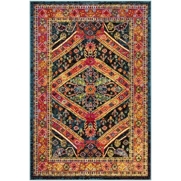 shop safavieh cherokee bohemian turquoise light orange rug 6 39 x 9 39 on sale free shipping. Black Bedroom Furniture Sets. Home Design Ideas