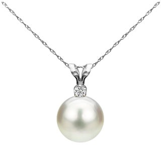 DaVonna 14k Gold 8-8.5 mm Japanese Akoya Cultured Pearl .05 CTTW Diamond Chain Pendant Necklace 18 inch (Option: White)