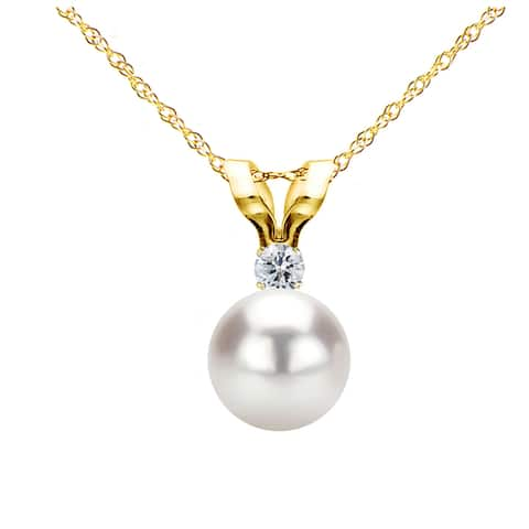 DaVonna 14k Gold 7-7.5mm Japanese Akoya Cultured Pearl .05 CTTW Diamond Chain Pendant Necklace 18 inch